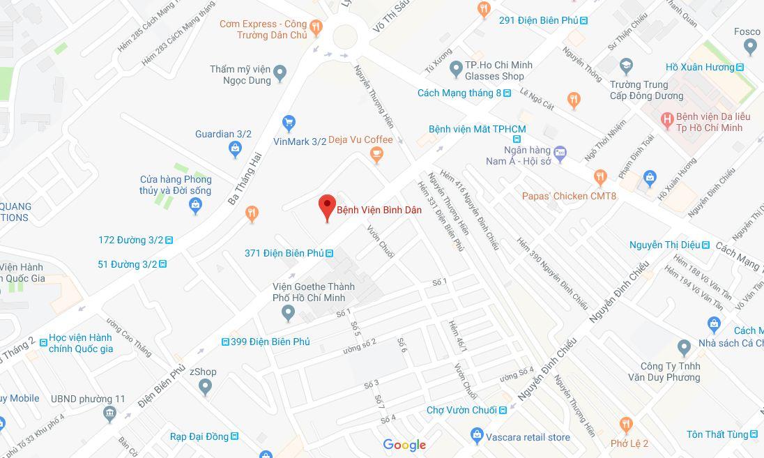 Bản đồ Bệnh viện Bình dân
